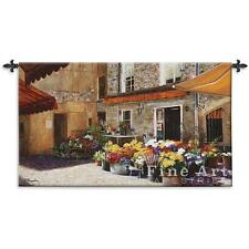 """The Flower Shop Tapestry European Street Scene Picture 53""""x34"""""""