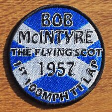 Motorcycle Biker Cafe Racer Rocker Ton Up IOM TT Cloth Patch Badge BOB MCINTYRE