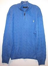 Polo Ralph Lauren Mens Blue 100% Silk Cableknit 1/2 Zip Sweater NWT $125 XXL 2XL