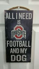 OHIO STATE BUCKEYES FOOTBALL DOG WOOD SIGN 6X12 w/hanging rope FREE SHIPPING!