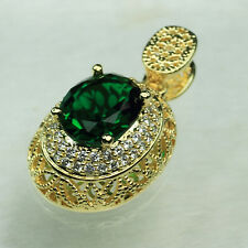 18K Yellow Gold Filled Big Emerald 4.1Ct CZ Women Fashion Necklace Pendant P3082