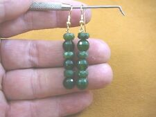 ee404-56) 8 mm Green Jade Canada gemstone beaded on gold wires dangle earrings