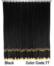 Saaria Velvet Pinch Pleated Curtains With Gold Stripe & Fringe Drapes 6'W x 8'H
