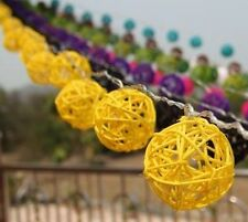 Yellow Rattan Cane Balls Fairy Light String 3 Meters Long 220V UK Or 110V USA
