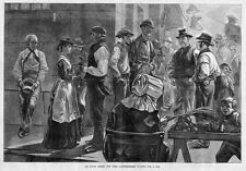 LONGSHOREMEN WAITING FOR A JOB SOUTH STREET NEW YORK FRUIT STAND 1881 EMPLOYMENT