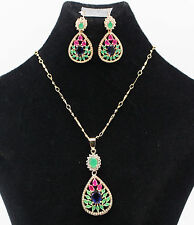 Natural Ruby&Green Emerald &Blue Sapphire Necklace Earrings GOLD Jewelry set