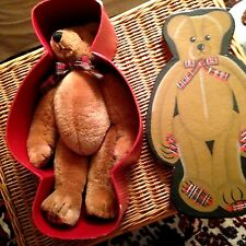 "VINTAGE FAO SCHWARTZ TEDDY BEAR - 13"" in ORIGINAL TEDDY BEAR SHAPED BOX"