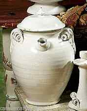 INTRADA Italian White Crackle Ceramic Jug w/ Lid Handmade Canister Made in Italy