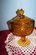 Vintage Amber w/eagle covered candy dish