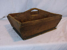 Antique Wooden Primitive Tool Caddy Tray Wood Tote Handled Utensil Box 2