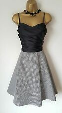 GOTHIC Black Check Rockabilly Dress 14 Black White 50s Doll Lolita WAREHOUSE
