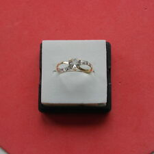 EXCELLENT 9CT YELLOW GOLD HEART WHITE AQUAMARINE & DIAMOND RING  SIZE O IN  BOX
