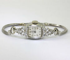 Antique Omega diamond ladies watch 14K white gold 8 rounds .20CT 14.7 x 38.8 MM
