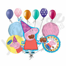 11 pc Peppa Pig Balloon Bouquet Party Decoration Happy Birthday Nick Jr. Cake