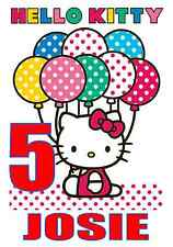 """Hello Kitty Birthday Iron On Transfer, 5""""x7.5"""",  for LIGHT Colored Fabric"""