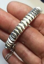 Vintage Crown Trifari hinged clamper BRACELET Silver Toned safety chain
