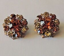 Vintage  Pink and Ice Prong Set Silver Tone Clip Earrings