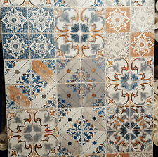 Valencia Mettalic Tile Effect, Washable Wallpaper in Orange Blues & Cream New in