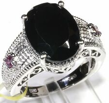 Thai Black Spinel, Garnet Ring Platinum Overl Sterling Silver (Size 7) 8.91 Cts