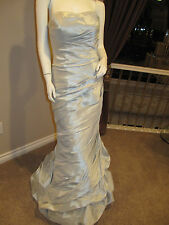 ALLURE Silver Blue Wedding Bridal Gown Prom Dress Size 8 Strapless Long Formal