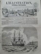 """L'ILLUSTRATION 1856 N 688 LA CORVETTE A VAPEUR"""" LE DUCHAYLA"""" VOGUE VERS SPITHEAD"""