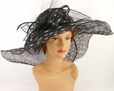 New Church Kentucky Derby Wedding Sinamay Wide Brim Dress Hat 7053 Black dot