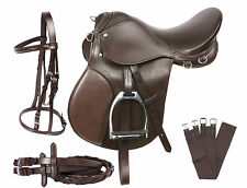 ALL PURPOSE BROWN LEATHER ENGLISH HORSE JUMPING SADDLE GIRTH TACK SET 16 17