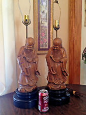 Chinese Wood Carved Vtg Buddha Oriental Asian Emperor Statue Figure LARGE LAMPS