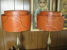 Pair of Mid Century Vintage Style 2 Tier Fiberglass Lamp Shades Atomic  BO2
