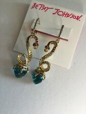 Betsey Johnson Gold Tone Blue Faceted Stone And Snake Drop Earrings