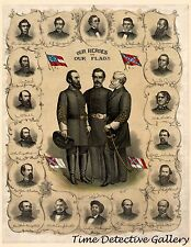 "Civil War Confederate Generals ""Our Heroes"" - 1896 Lithograph Print"