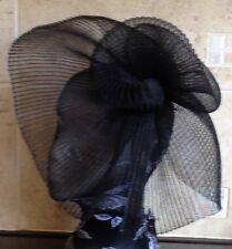 Nero Fascinator Con modisteria Burlesque Cappello da sposa capelli pezzo Ascot Race da sposa