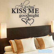 Always Kiss Me Goodnight Love Quaote Wall Sticker Bedroom Removable Decals DIY