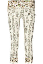Isabel Marant Bario Floral Print Studded Cropped Mid-Rise Skinny Jeans Sz FR 40