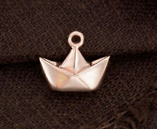 925 Sterling Silver 24k Gold Vermeil Style Origami Boat  Charm 10x14mm.