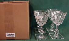 Tiffin Crystal PRISTINE 17431 Wine Water Goblets SET/4 MINT In BOX Square Base