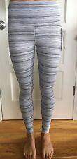 Lululemon Size 8 High Times Cyber Stripe White Silver CXWS GRAY Pants NWT Crop