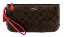 COACH Wallet Signature PVC Large Wristlet F65748 Brown Red