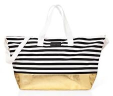 VICTORIA SECRET WHTE BLACK STRIPE GOLD WEEKEND BAG DUFFEL TRAVEL CARRY ON LARGE