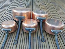 SET 5 VINTAGE FRENCH HAMMERED COPPER SAUCEPANS CAST IRON HANDLES TIN LINED 4.1kg