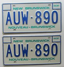 New Brunswick 1987 SUPERB QUALITY License Plate PAIR # AUW-890