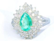 Striking 1.99ct Diamond & Emerald 18K White Gold Ring