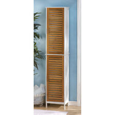 "Modern 75"" Tall White Bamboo Slats Bathroom Linen Towel Cabinet Shelf Cubby"