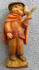 Vintage Anri Hand Carved Wooden Figurine Boy in Hat Talking to Bird Ferrandiz