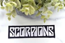 SCORPIONS White Iron On Music Patch Badge Retro Heavy Metal Grunge Band Thrash