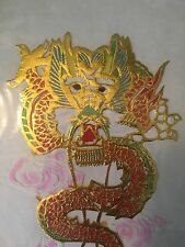 Set Of 7 Vintage Gold Foil And Vibrant Colored Dragon Chinese Paper Cuts