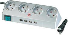 Brennenstuhl Desktop Power Plus Steckdosenleiste 4 Fach mit USB 2.0 Hub silber