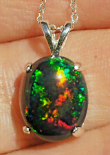Genuine 2.85ct Floral Harlequin Welo Opal .925 Sterling Silver Pendant Necklace