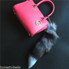 "18"" Large Real Silver Fox Fur Tail Keychain Leather Tassel bag charm Key Ring"