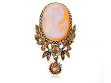 Vintage Cameo Maiden Brass Tone Topaz Crystal Rhinestones Brown Brooch Pin
